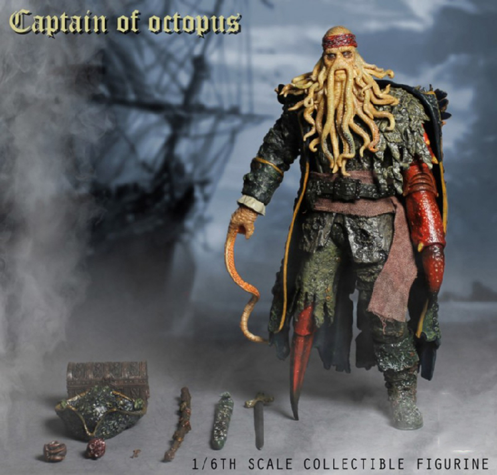 1/6 Caribbean Captain Action Figure Davy Jones figure doll full set doll With ACC Colletible Model Toys And original box 10