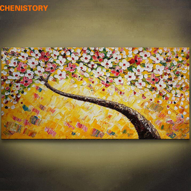 Unframed Yellow Flower Tree Hand Painted Oil Painting Modern Large ...