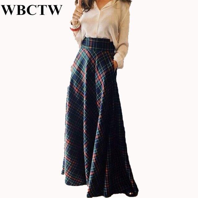 WBCTW Maxi Skirt High Waist A-Line Style Autumn Winter Plaid Skirts XXS-7XL  Plus Size Cotton Maxi Vintage 2018 Party Women Skirt d0ee6afd5caa
