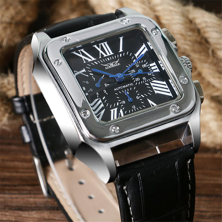 JARAGAR Mechanical Watches Men Fashion Genuine Leather Wrist Watch Automatic Date Day Display Watches Mens Clock with Gift Box (12)