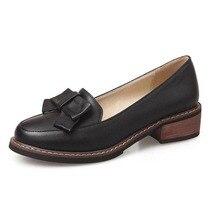แฟชั่นใหม่โบว์ปากตื้นสลิปผู้หญิงโลฟเฟอร์สุภาพสตรีลำลองแบนฟอร์ดรองเท้าขนาด34-43ผู้หญิงแฟลตสาวShcoolรองเท้า