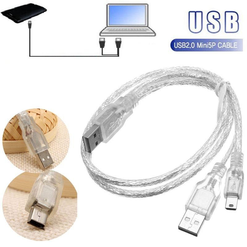 New USB 2.0 Male + Mini 5 Pin Male Host OTG Data Power Y Splitter Cable for Mobile HDD Hard Drive