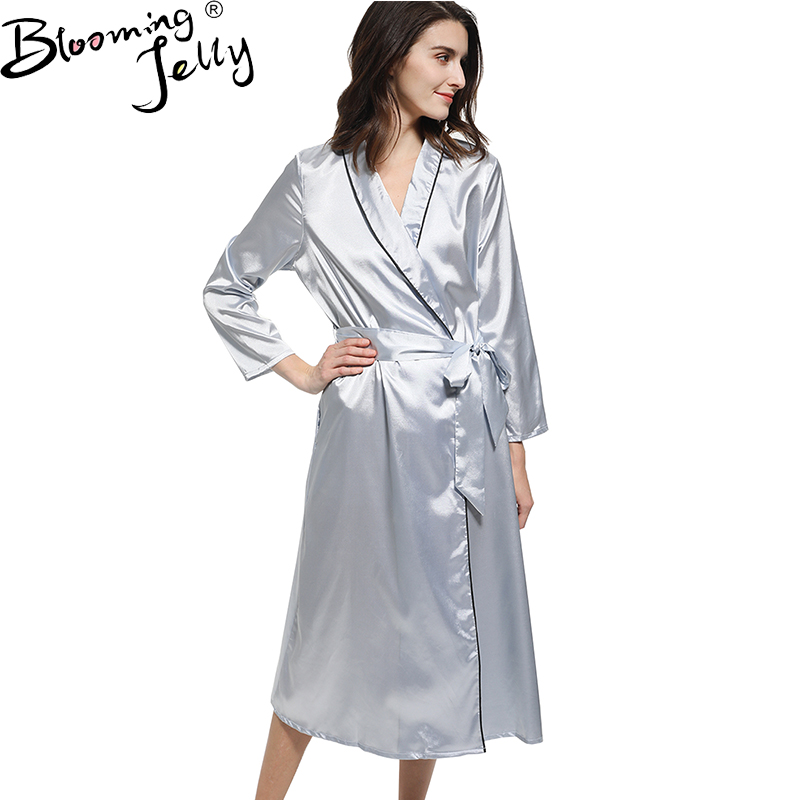 Blooming jelly female satin robe dress nightgown bath gown for Bathroom dress