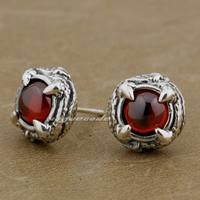 925 Sterling Silver Round Claw Ruby CZ Stone Biker Stud Earring 8R023 1 Pair
