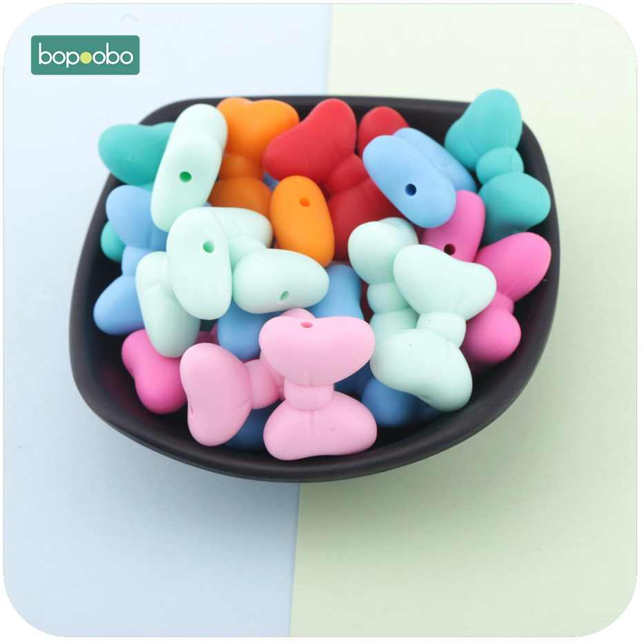 Bopoobo Silicone Bow Tie Beads 5pc Food Grade Silicone Beads Diy Teething Necklace Accessories Bracelte Made Baby Teether