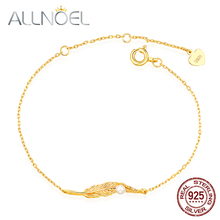 ALLNOEL Solid 925 Sterling Silver Bracelet Womens 14k Gold Real Pearl Gemstone Feather Bracelets Wedding Engagement Jewelry New
