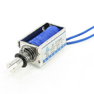 sourcingmap/® DC24V 1A 10mm Stroke 15N Force Push Pull Type Frame Wired DC Solenoid Electromagnet Magnet JF-0837B