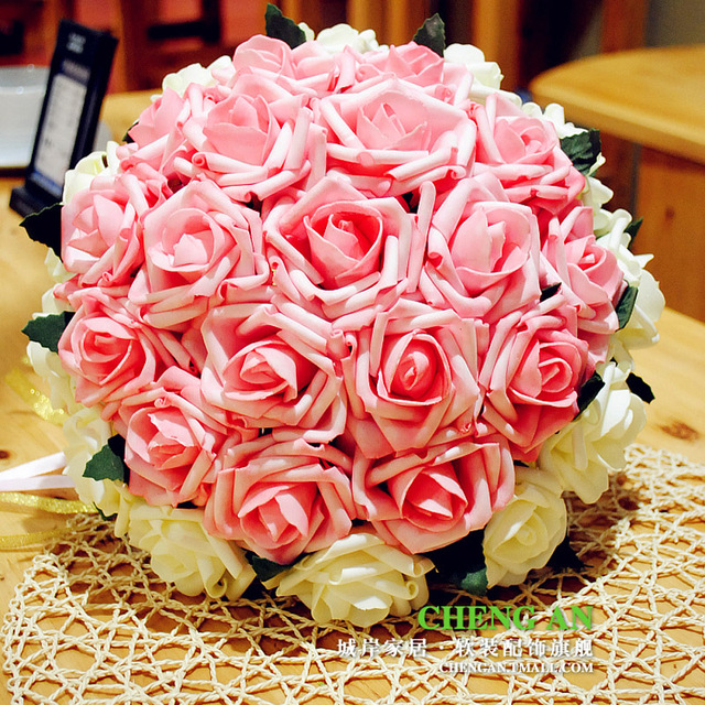 Handmade Wedding Bouquet for Brides Red/Pink Artificial Rose Flower Bridal Bouquet Buque Noiva ramos de novia Free Shipping