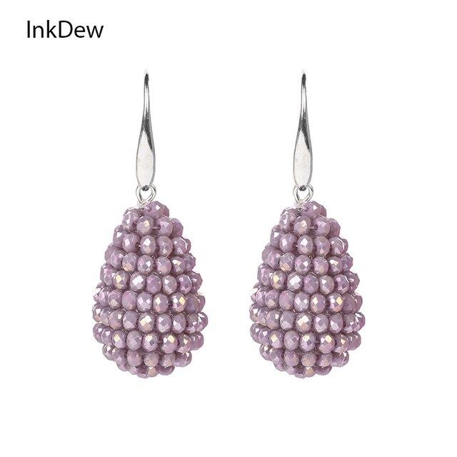INKDEW Long Drop Earrings Beaded Multicolor Handmade Threading Crystal Big Earri