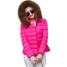 Зима Ватные Куртки Женщин Хлопка Большой Меховой Воротник Короткий Жакет мода 2016 Девушки Сплошной Цвет Тонкий С Капюшоном Парки Плюс Размер SS628