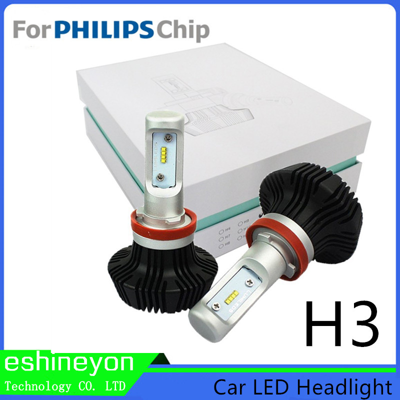 ФОТО Super Bright Car Auto Lamp Led Headlight H3 Replacement Canbus For Philips-ZES Chips LED Headlight Conversion Kit Driving Lamp