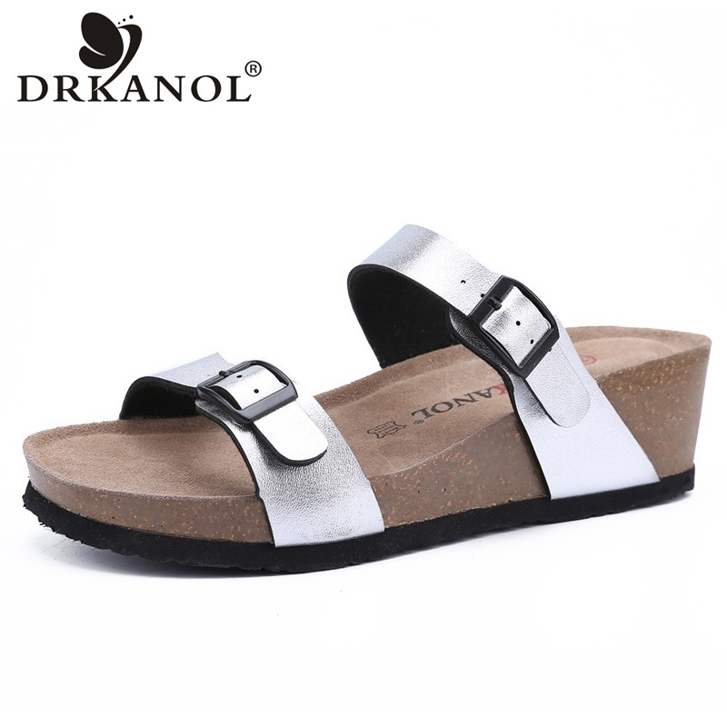 DRKANOL Summer Women Slippers 2018 New Double Buckle Wedge Sandals Woman Peep Toe Beach Slippers Casual Women Slides Shoes marlong women sandals summer new candy color women shoes peep toe stappy beach valentine rainbow jelly shoes woman