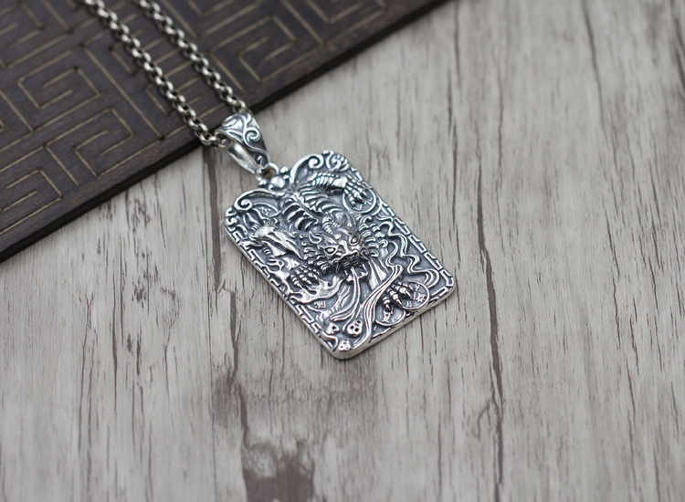 S925 Silver To Create Silver Amulets Lucky Bite Money Brave Pendant Personalized hand-carved Tag