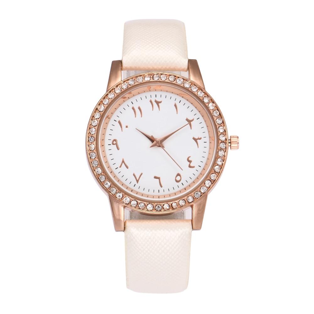 Ladies Læder Quartz Watch High Quality Arabiske Nummer Rhinestone - Dameure - Foto 5