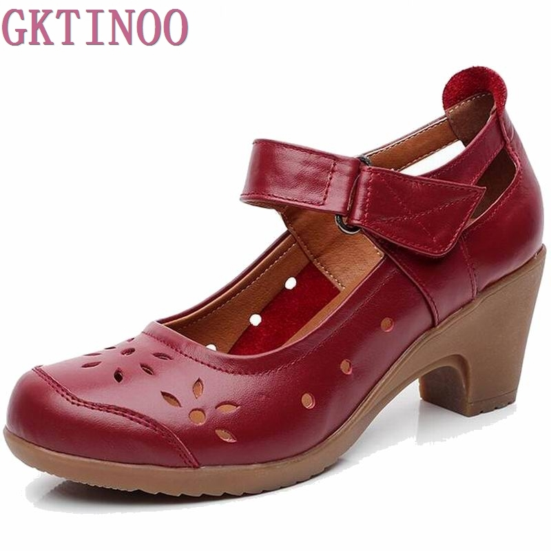 2018 Spring Autumn Shoes Woman 100% Genuine Leather Women Pumps Lady Leather Round Toe Platform Shallow Mouth Shoes Size 34-41 women shoes spring autumn 100