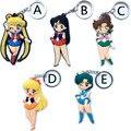 Sailor Moon Pingente Chaveiro Chaveiro Figuras de Ação Brinquedos Figura PVC Modelo Boneca Caçoa o Presente Amigos 2 Lados 5 Estilos