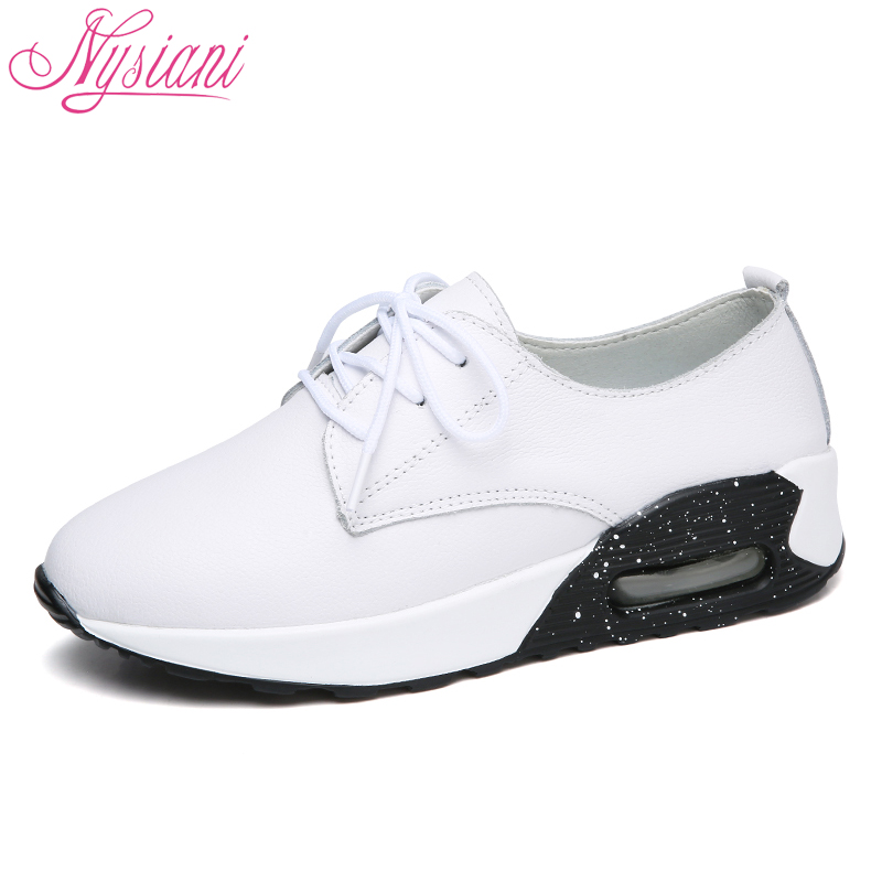 цена на 2018 Spring New Women Sneakers Split Leather Students White Shoes Round Toe Lace-up Fashion Flat Platform Casual Shoes Nysiani