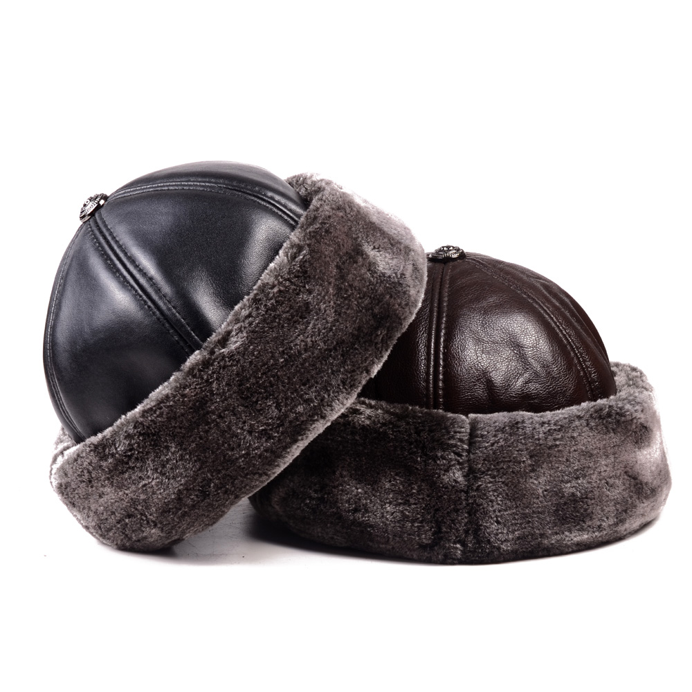 Men's Genuine Leather Cowhide Winter Warm Thick Lining Skullcap Beanies Beret Round Hat Brimless Caps/Hats