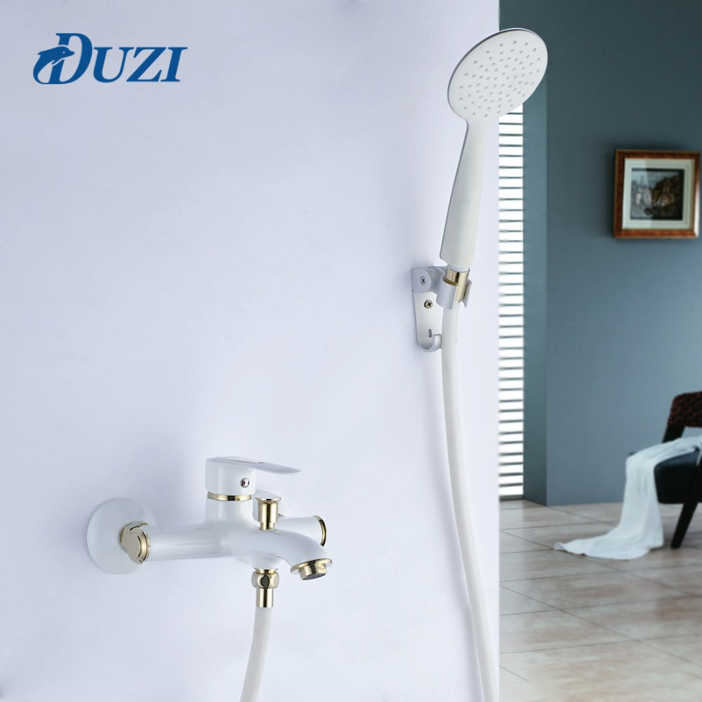 DUZI Brass Wall Mount Bathroom Faucet Bath Tub Mixer Tap With Hand Shower Head Shower Faucet Set White Black Golden Color D5107 china sanitary ware chrome wall mount thermostatic water tap water saver thermostatic shower faucet