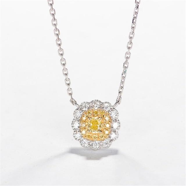 LASAMERO Certified 0.23ctw Cushion Cut Yellow Diamond Pendant 18k Tow Tone Gold Floral Halo Natural Diamond Pendant Necklace