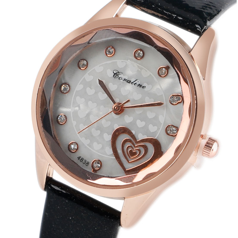 Women Watches Fashion Quartz-watch Women's Mujer Dress Ladies Watch Business Leather Heart Crystal Analog Clock Relojes Mujeres ladies watches fashion red simple design black water resistant life quartz watch dress leather clock women casual relojes mujer