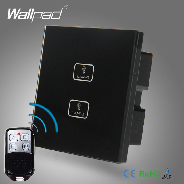 2pcs 2 Gang 234 Way RF315 WIFI Remote Switch Wallpad Black Glass