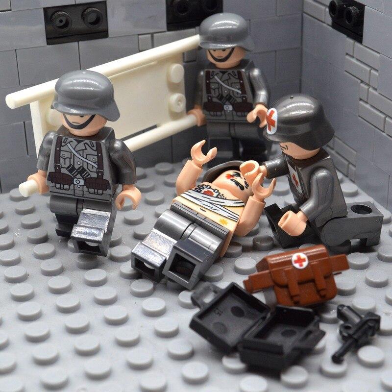 4pcs/set Brick WW2 Medic Team Military Soldiers MOC UV-Printing US Treatment Injured Building Blocks Toys for Children Солдат