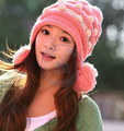 Sweet balls knited hat Beanies Cap Autumn Spring Winter fashion girl lady's multi color  wholesale