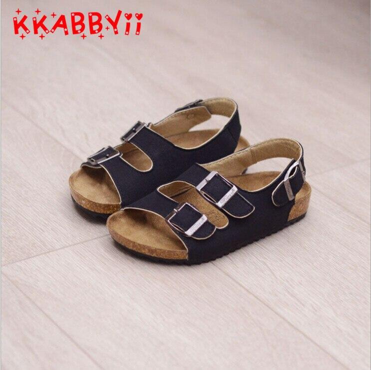 KKABBYII Boy Girl Sandals Children Shoes For Girls Summer Sandals Cork Flat Shoes Comfortable Leather Kids Sandal EU Size 22-36