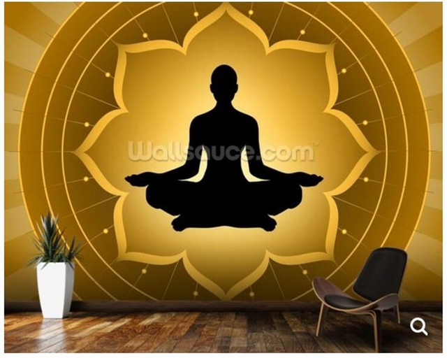 Custom Buddha WallpaperYoga Meditation On Lotus Fresco Wall For The