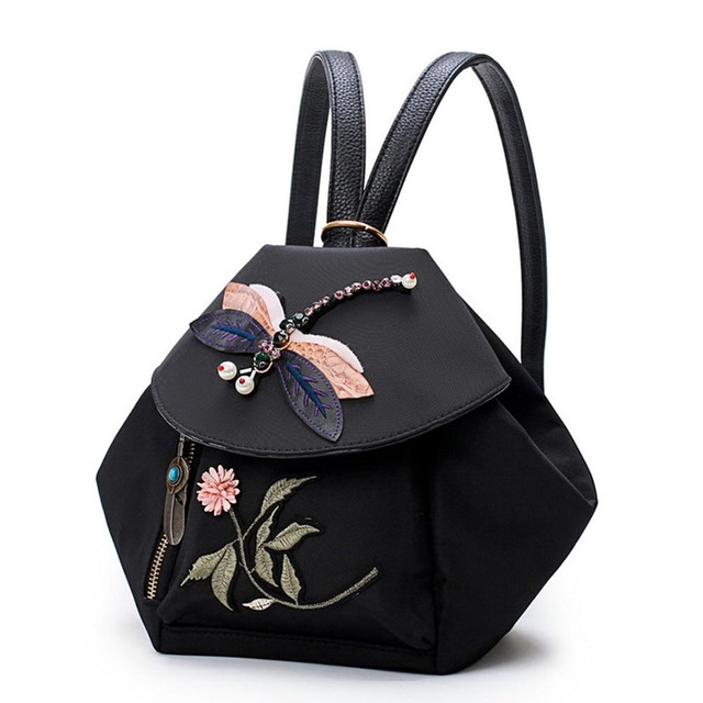 a603fcd76a Women Fashion Vintage Backpack Personality National Style Rhinestones  Dragonfly Flower Embroidery Traditional Craft Shoulder Bag