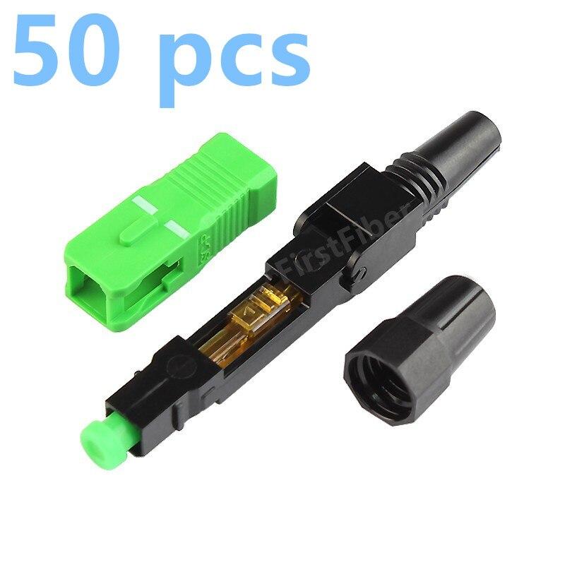 50 piezas SC APC adaptador rápido conector soporte adaptador 0,9mm 2,0mm 3,0mm interior y FTTH Cable plano rápido/rápido campo