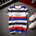 Moda listrado colorido e letra impressa t-shirt 95% algodão 5% spandex verão curto-luva t-shirt dos homens tamanho m-5xl DTX5-12