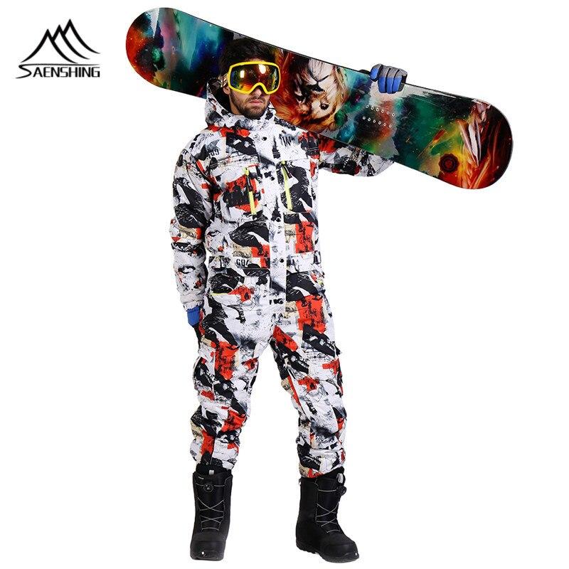 SAENSHING snowboard jacket one piece ski suit men winter waterproof thick warm ski jumpsuit Sport Snowboard