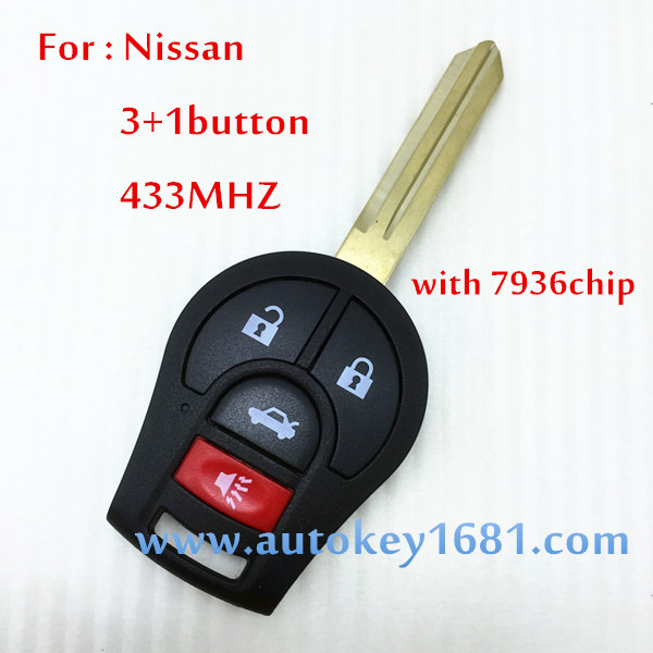 3+1Button Remote key Control For Nissan Versa Cube Rogue Juke 433 MHZ With ID46 Transponder Chip uncut blade Car Key