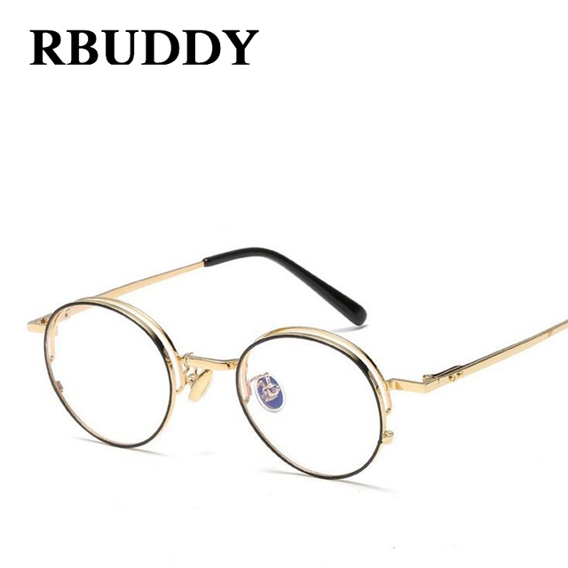 New Clear Fashion Round Frames Eyeglasses For Women Small Vintage Steampunk Metal Glasses Frames For Men Nerd Glasses OQLEp1y