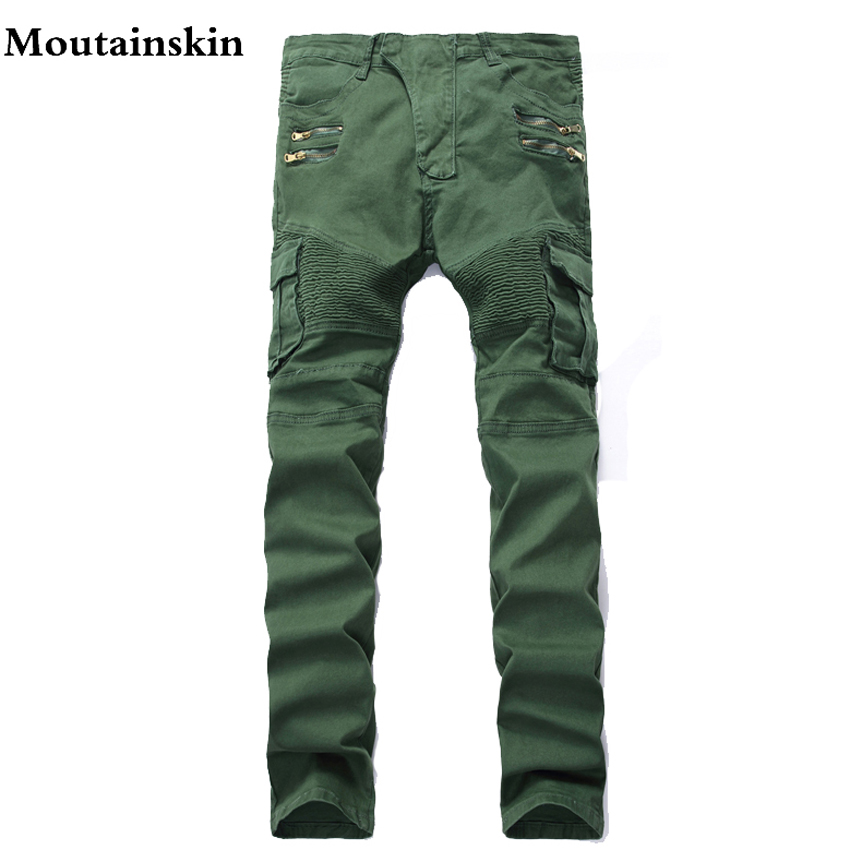 Mountainskin 2017 New Men's Ripped Slim Denim Jeans Men Washed Hole Skinny Jeans Brand Vintage Straight Biker Trousers, SA091