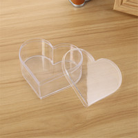 10Pcs Clear Heart Shaped Transparent Storage Box Plastic Wedding Brithday Candy Gift Boxes Jewelry Accessories Empty