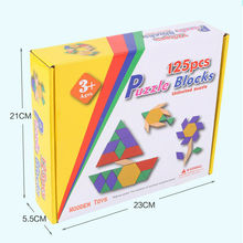 Puzzle Games Montessori Toys Learning Education 3d Wooden Puzzles Math Toys 125pcs Colorful Tangram Educational Kids Toy wooden tray montessori learning math puzzle number montessori learning games education clock arithmetic counting toys baby math