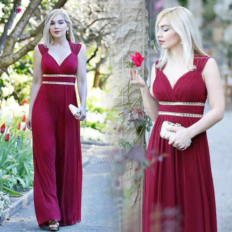 Ever Pretty Evening dresses EP08697 Women's Beautiful Elegant A line Sexy White V neck Long Prom Dresses Occasion Party Dresses