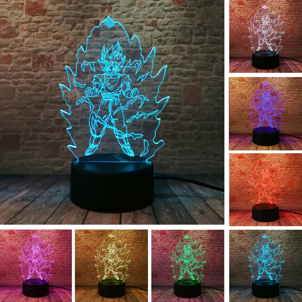 Dragon Ball Z Super Saiyan God Goku Action Figures 3D Table Lamp 7 Color Changing LED Night Light Baby Sleep Kids Toy Xmas Gifts