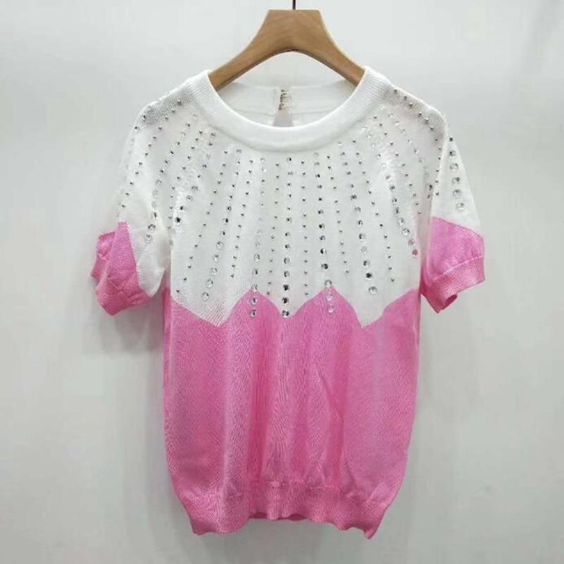 JKKUCOCO 2019 Newest sweater knitted t shirts Short lantern sleeve Diamonds Cotton t shirt Women Tops