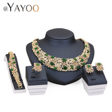 AYAYOO African Beads Jewelry Sets For Women Imitation Crystal Necklace Earrings Gold Color Pendant Wedding Dress Accessories