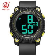 OHSEN Mens Sports Watches Dive 50M Digital LED Military Watch Men Fashion Yellow Electronics Wristwatch relogios masculino