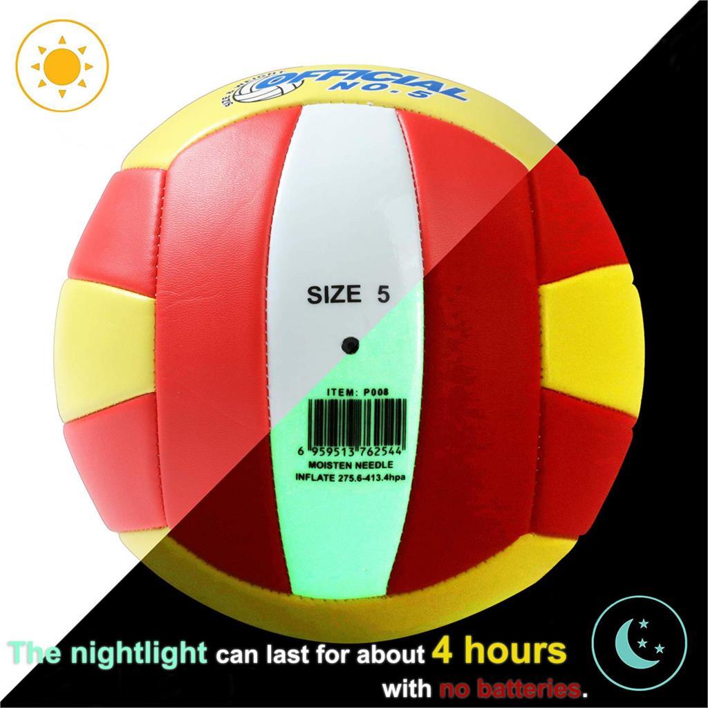5# Luminous Beach Volleyball Volley Ball Glow upNight Light Game Train Match Luminescence Children Women Men Outdoor Iutdoor