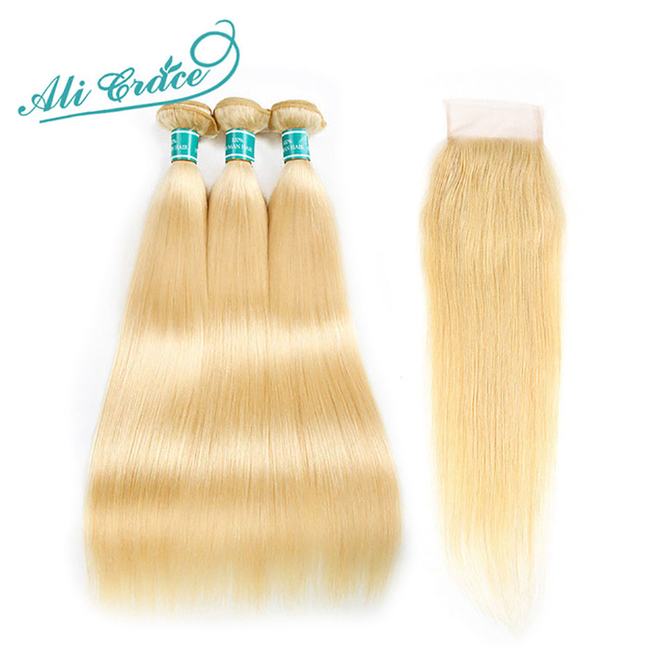 Ali Grace Hair Blonde Straight Human Hair 3 Bundles With Closure 100% Remy Brazilian Straight Hair With Closure 613 Full Blonde