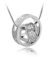 100% 925 Prata Esterlina Da Forma Do Coração e Círculo Colar Pingente Fine Jewelry Top Qualidade Presente FRETE GRÁTIS