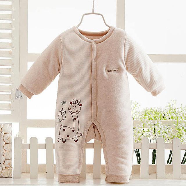 2017 Invierno Ropa de Bebé de Algodón Bebé Ropa de La Muchacha Mamelucos Recién nacido de peluche mono monos de nieve bebé traje para la nieve de las muchachas ropa