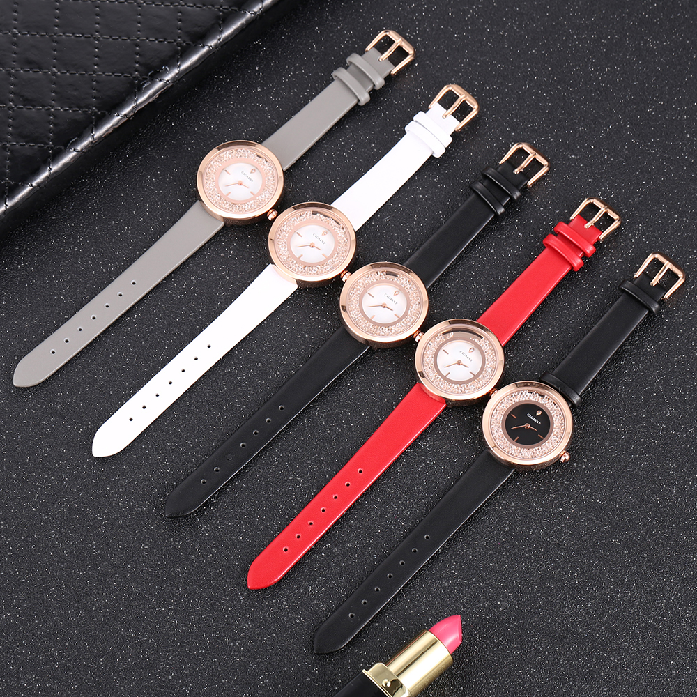 luxury brand quartz watch for women fashion ladies wristwatches rose gold case vogue leather strap with crystal free shipping (12)
