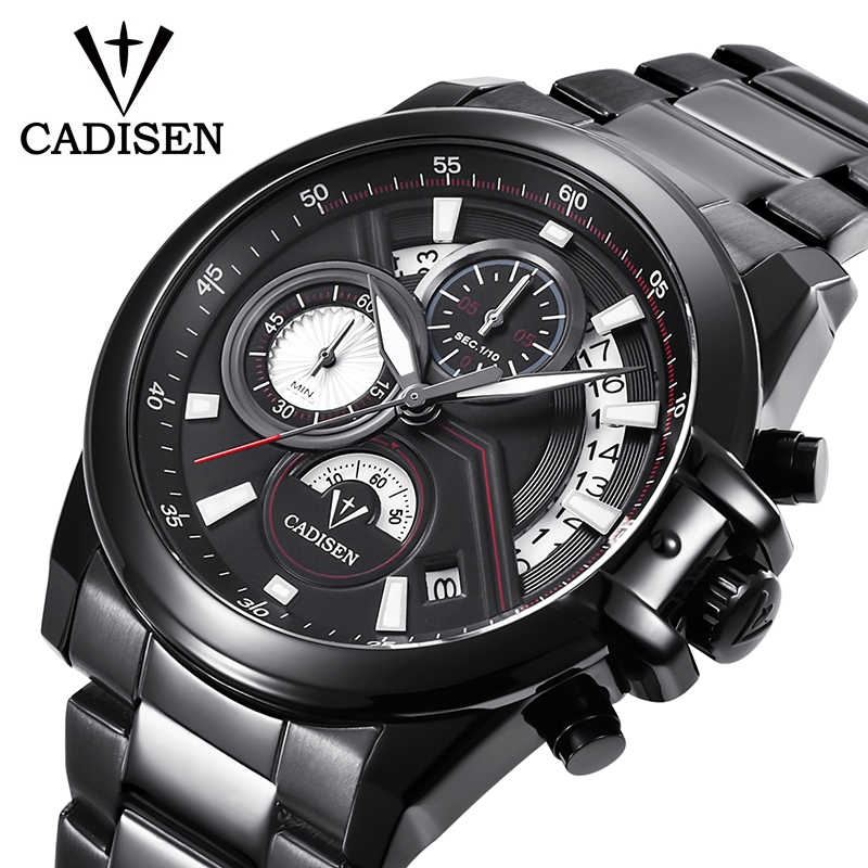 CADISEN Men watch top brand luxury Fashion Casual Sports quartz watch Stainless Steel business WristWatch men Relogio Masculino nakzen men watches top brand luxury clock male stainless steel casual quartz watch mens sports wristwatch relogio masculino